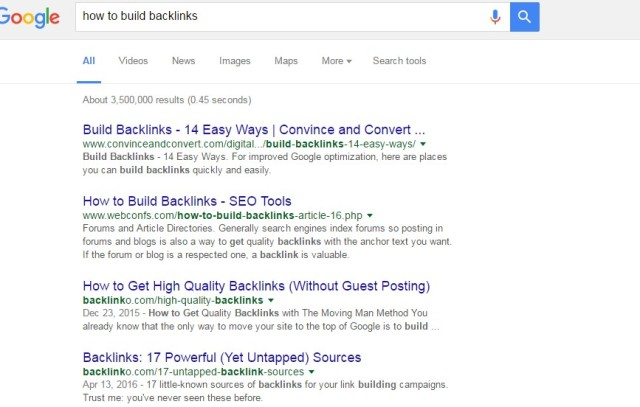 google results on how to build backlinks